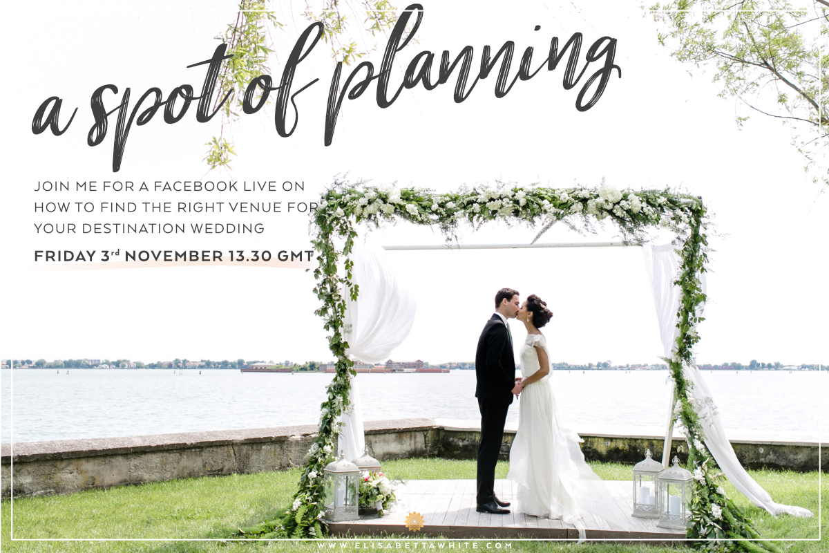Graphic inviting people to a Facebook Live hosted by destination wedding planner Elisabetta White
