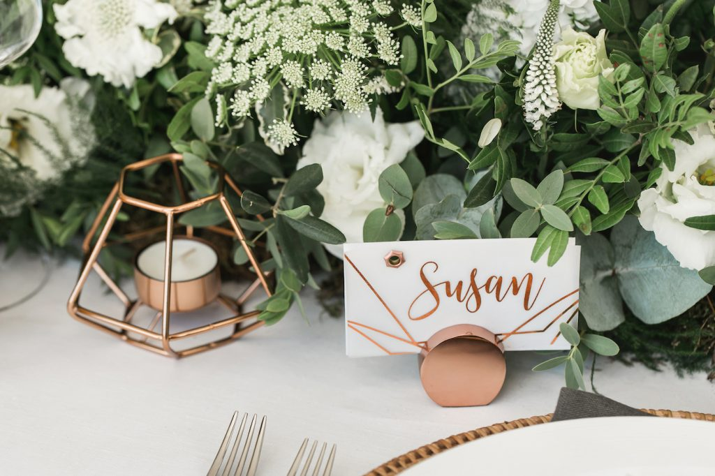 copper place setting details styled by international wedding planner Elisabetta White