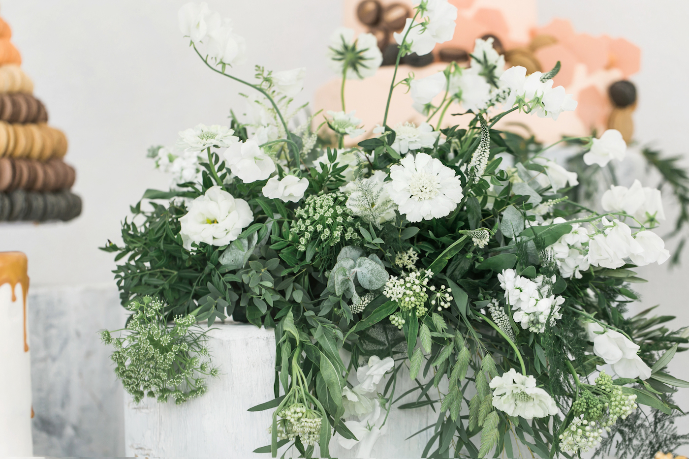 White flower arrangements