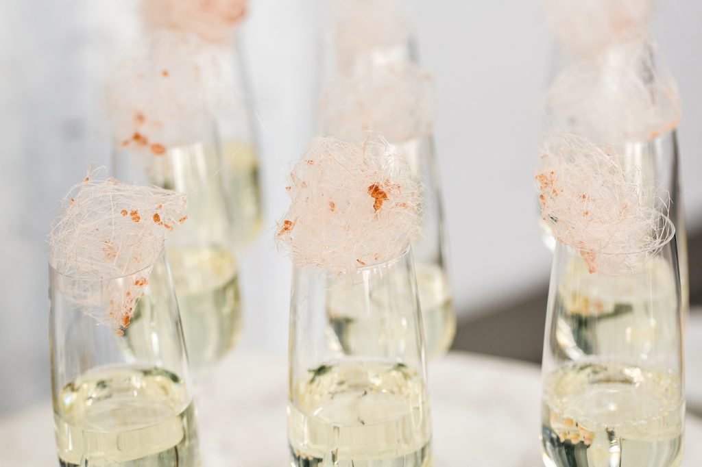 Champagne jelly flutes with spun sugar styled by international wedding planner Elisabetta White