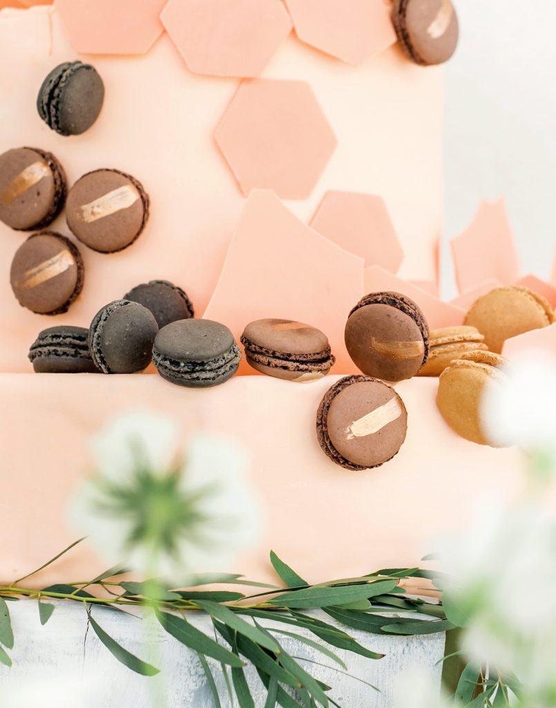 Macaron wedding cake at Intercontinental Davos styled by international wedding planner Elisabetta White