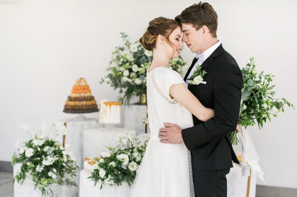 Bride and groom hugging at Intercontinental Davos
