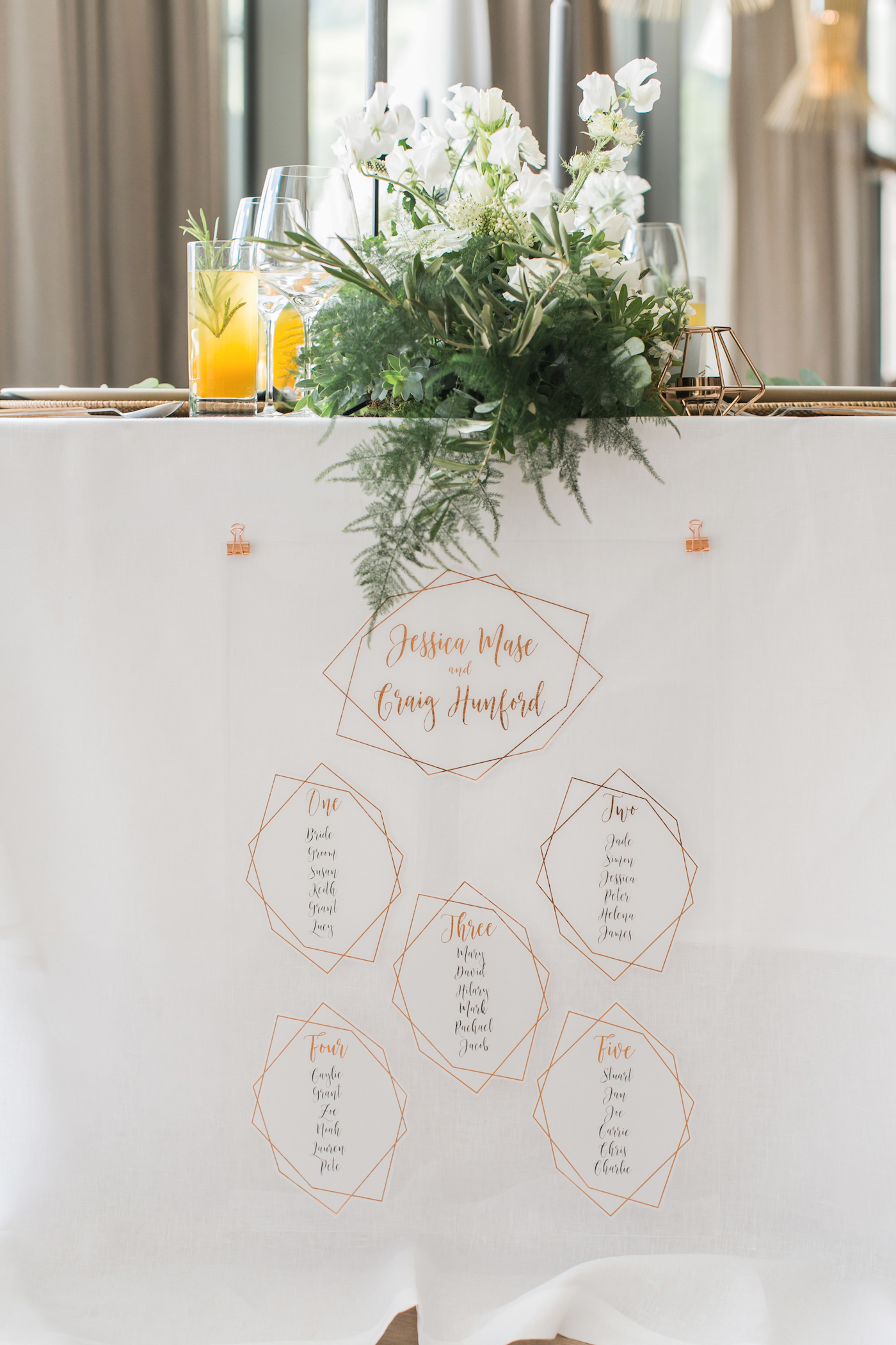 Table plan on acrylic boards and copper foiled details styled by international wedding planner Elisabetta White