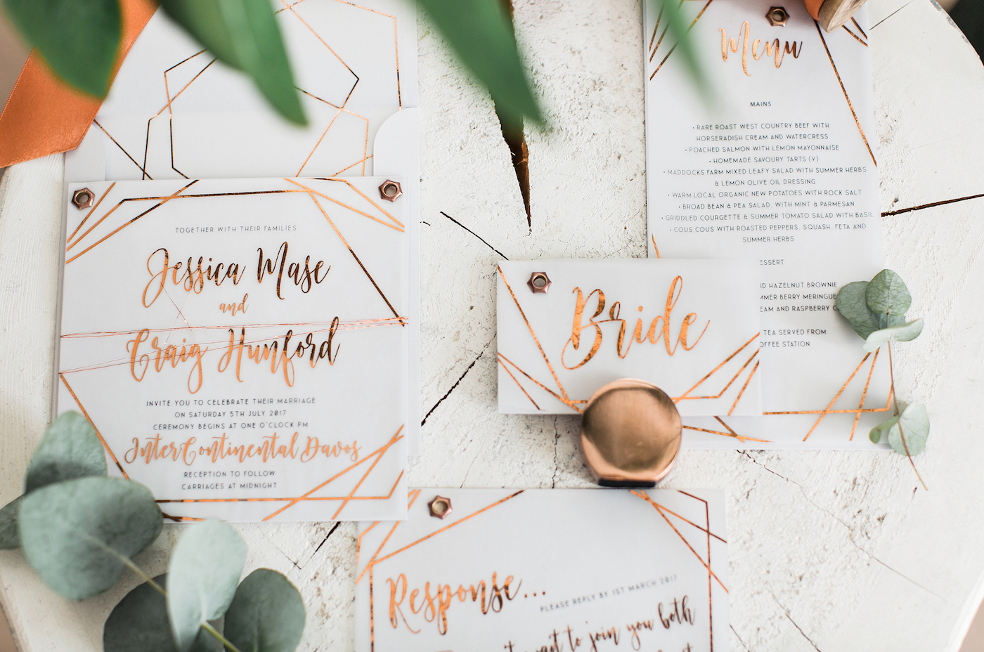 Wedding stationery with copper foiled details styled by international wedding planner Elisabetta White