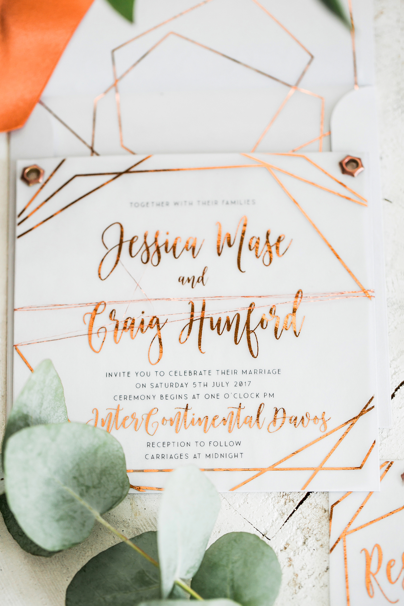 Copper foiled invitation styled by international wedding planner Elisabetta White