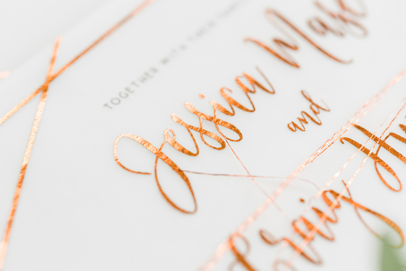 Copper foiled invitations by Beyond Vintage styled by international wedding planner Elisabetta White