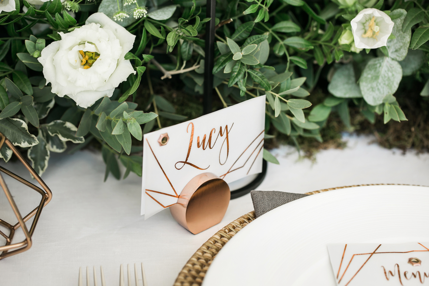 Modern copper foiled place cards by Beyond Vintage styled by international wedding planner Elisabetta White